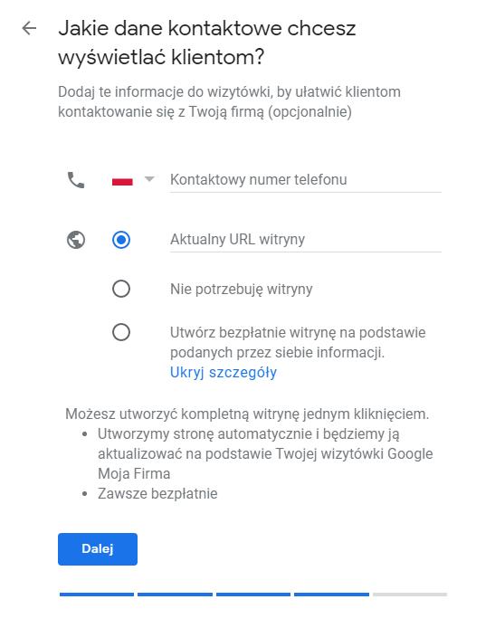 Zakładanie Google Moja Firma - krok 8