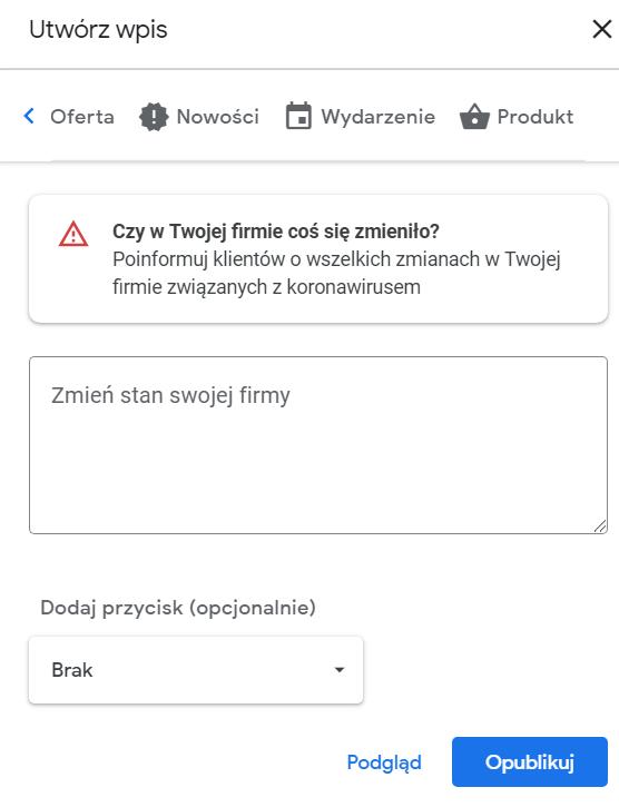 dodawanie wpisu na Google Moja Firma